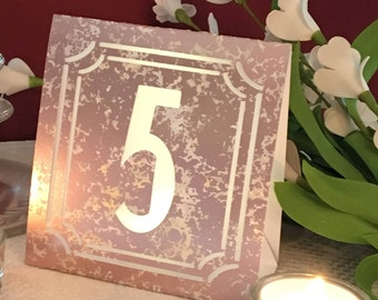 SILVER, ROSE GOLD, Copper, or Gold Mercury Glass Style Table Number Luminaries