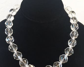 AAA Star Faceted Rock Crystal Quartz 16mm Necklace with Sterling Silver Clasp