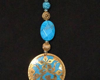 Light Blue Oriental Pendant Necklace