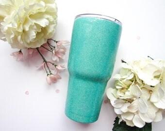 Robin's Egg Blue Glitter Tumbler - Glitter Tumbler - Blue Glitter Tumbler - Turquoise Glitter Tumbler - Glitter Yeti - Custom Yeti - RTIC