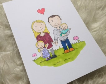 "Personalized illustration-hand drawn-""family picture""-""Friends"" (3 to 6 persons)"