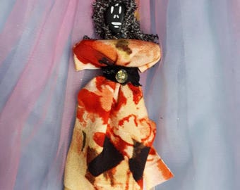 Voodoo Doll Authentic Handmade Elegant New Orleans Inspired, blessed to assist with mental clarity, doubt, indecision, uncertainty Art Doll