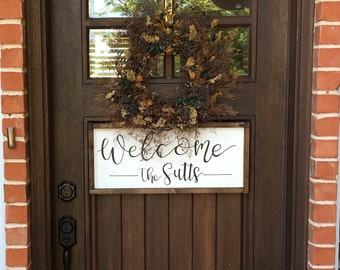 Porch Sign || Bucket List || Welcome Sign || Farmhouse Sign || Custom Sign || Gray Wood || White and Black || Handlettered || Entry Sign ||