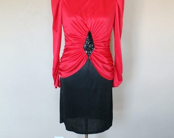 1970s/80s Vintage Red and Black Disco Diamond Ruched Dress