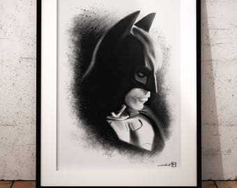 Batman, Christian Bale, The Dark Knight, artwork, handmade, PRINTABLE art, poster, instant download, digital print, home decor, wall art
