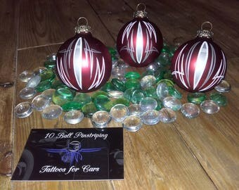 Traditional Pinstriped Christmas Baubles