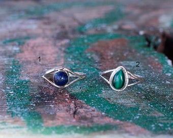 Silver Ring Stones Drop Dots/ Bague goutte en argent sterling et pierres semi-precieuses