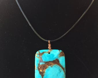 Turquoise Copper Pendant, Southwestern style copper pendant, blue rectangle pendant, faux turquoise pendant, large stone pendant