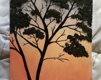Acrylic Canvas Painting - Tree Sunset - Nature Art