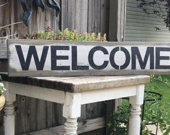 "Rustic Welcome sign 38.5"" x 7.25"", farmhouse sign, pallet wood sign, distressed, entryway sign, porch sign,  modern farmhouse"
