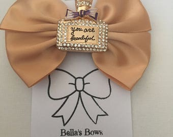 Gold & Purple Perfume Bottle Hair Bow