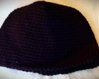 Black Crocheted Beanie