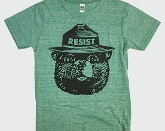 Smokey Resist - Kids T-Shirt - Kids Resist Shirt - Organic Cotton Recycled, Polyester & Rayon Blend - Made in USA