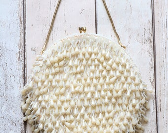 Beautiful Vintage White Beaded Evening Bag