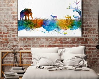 Wall Art Print, Watercolor Wild Elephant Family in Africa Canvas Print - Blue Art Canvas Print - Antelope Skyline Silhouettes Watercolor
