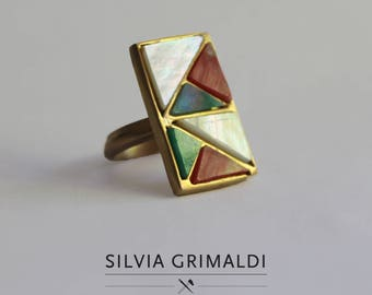 Extra small gold plated geometric ring