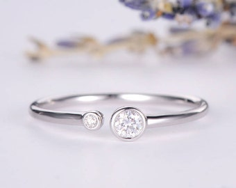 Diamond Open White Gold Ring Bezel Set Wedding Bridal Ring Simple Minimalist Stacking Adjustable Anniversary Promise Gift Engraving Women
