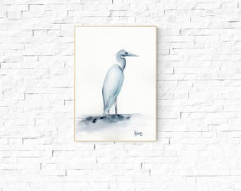 BLUE HERON PRINT - Australian Bird Art, bird art, bird painting, water bird, Bird watercolor, gifts for her, gifts for him, wall art
