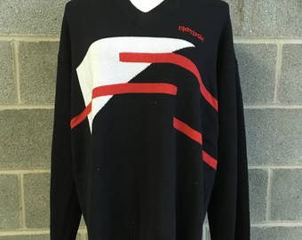 Reebok Vneck Golf Sweater Colorblock Vintage American Deadstock Reebok Pullover Black and Red Colorblock Sweater NWT Series by Greg Norman