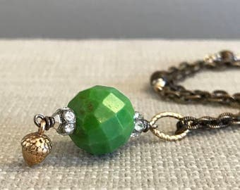 Faceted Jade and Acorn Pendant