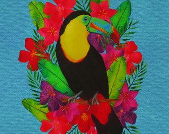 Illustration Toucan tropical flowers