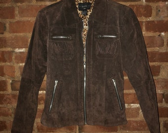 Vintage 90s 100% Leather Chocolate Brown Suede Short Jacket with Fringe Detail by Selene Sport