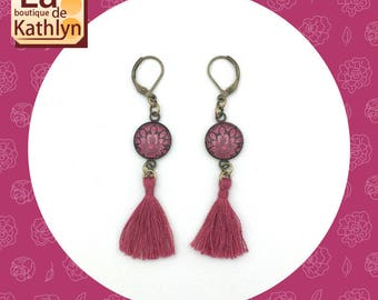Earrings with cabochon pink and bronze