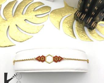 MAYA bracelet hand woven Brown caramel and gold