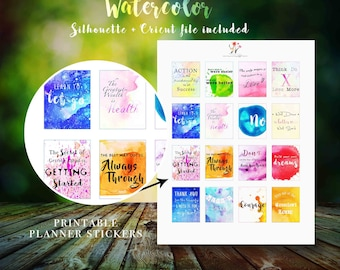 Printable Fantasy Quote Stickers, Watercolor Inspirational /Motivational /Life Quote Stickers, EC /Happy Planner, Silhouette Cricut Cut file