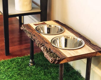 Warner Style Raised Dog Feeder made from Rescued Live Edge Walnut, Bowtie Inlay & Black Pipe.  Perfect for mid-sized dog! Free Shipping!