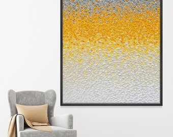Petals in Yellow: Original abstract painting on canvas with dimensional relief, large abstract 48x60, modern art, wall decor