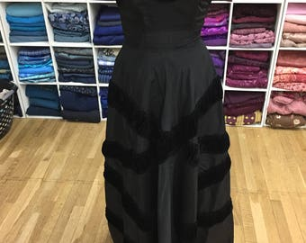 1950s Long Black Evening Gown