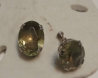 Sterling and Citrine Screw Back Earrings
