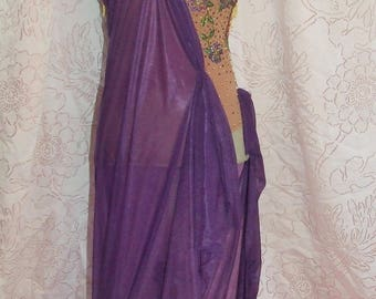 Womens' Beautiful Floral Applique Tan Leotard Royal Purple Golden Fringe Goddess Recital Showcase Competition Dance Costume