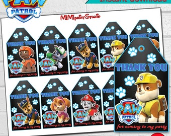 Paw patrol Party, Paw patrol Thank You Tags ,Paw patrol Thank You,Paw patrol Birthday Thank You Tags, instant download