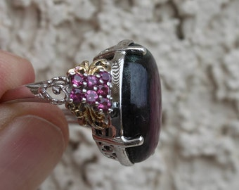 Sterling & Rutilated Ruby Ring Size 6.25