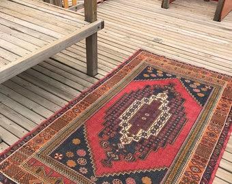 "Floor rug,home interior rug.4""3x7""1ft. Oushak rug,turkish rug,medallion rug,hallway rug,anatolion rug,"