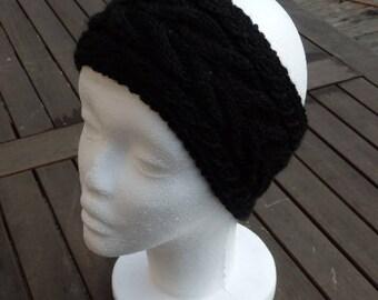 Knit Headband Black Wool