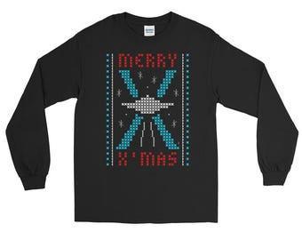 Merry X-Mas UFO | Ugly Christmas Long Sleeve T-shirt | Holiday Art | Unisex Gift Tee