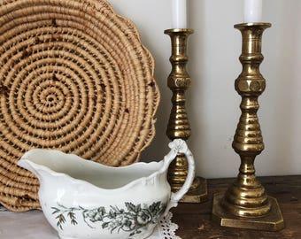 1890s Vintage Ironstone John Edwards Porcelaine de Terre Gravy Dish - Made in England - Harvest Pattern #172136
