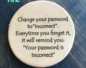 Change Your Password - Funny Leather Coasters