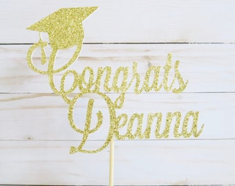 Personalized Graduation Cake Topper - Congrats Grad Cake Topper - Graduation Cake Topper - Personalized Cake Topper