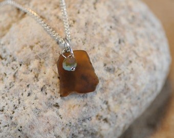 Genuine Amber Sea Glass Necklace with Brown and Blue Faceted Bead Charm