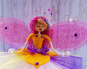 Rainbow Fairy, Handmade Gift, Wire Fairy, Girlie Gift
