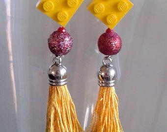"Earrings with yellow square Lego brick ""tassel jewlery"" 50% SALE"