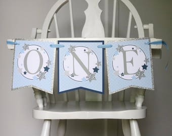 Twinkle Twinkle Little Star High Chair Banner - Blue Silver Star Birthday High Chair Decoration - Twinkle Star Birthday Party
