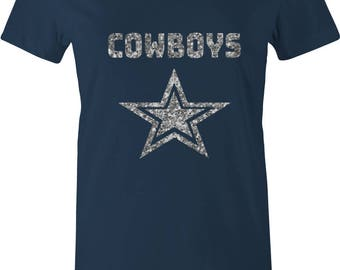 FOOTBALL WOMENS T-shirt COWBOYS Cowboy Fan T-shirt Personalized Football Shirt Custom Sport Tshirt Dallas Cowboys Game glitter silver Dax