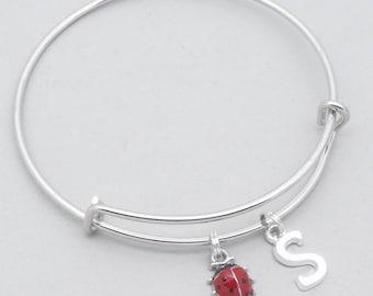 Ladybird charm bracelet with monogram initial | personalised ladybird jewellery | enamel ladybird jewelry | ladybird bangle | ladybird gift