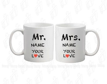 Personalized Coffee Mugs Set  Mr and Mrs Couples Wedding Married 11oz love Set 2 mugs girlfriend boyfriend gift