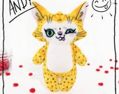 Andy the Cat- Illustrated cat doll - Soft Minky plush stuffed animal